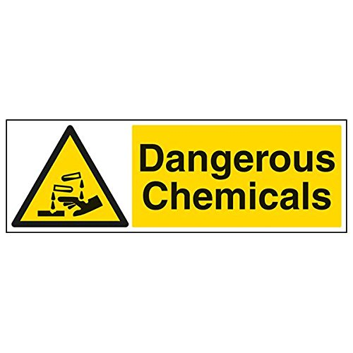 VSafety 6A075BP-S'Dangerous Chemicals' Sign, Landscape, 600 mm x 200 mm (Pack of 3) from V Safety