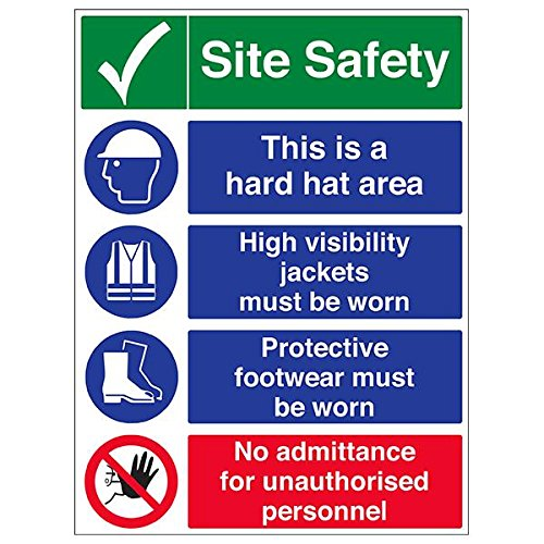 VSafety 6C023BV-R'Multi Hazard Site Safety/No Admittance' Sign, 600 mm x 800 mm (Pack of 3) from V Safety