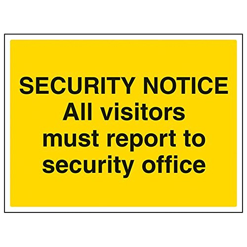 VSafety 6E027BF-R'All Visitors Report To Security Office' Sign, 400 mm x 300 mm (Pack of 3) from V Safety