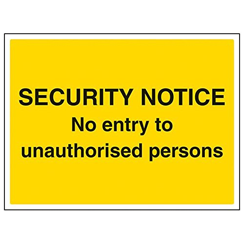 VSafety 6E028BF-S'No Entry To Unauthorised Persons' Sign, 400 mm x 300 mm (Pack of 3) from V Safety