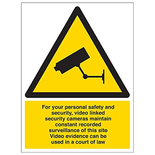 VSafety 6E030BC-S'CCTV/For Your Personal Safety and Security' Sign, 300 mm x 400 mm (Pack of 3) from V Safety
