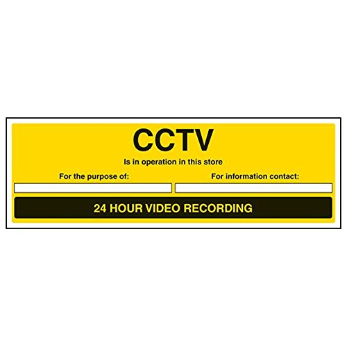 VSafety Signs - 6E045BJ-R - Warning Security Sign - Rigid Plastic - CCTV In Operation In This Area/24 Hour Video Recording - 450 x 150mm - 3 Pack from V Safety