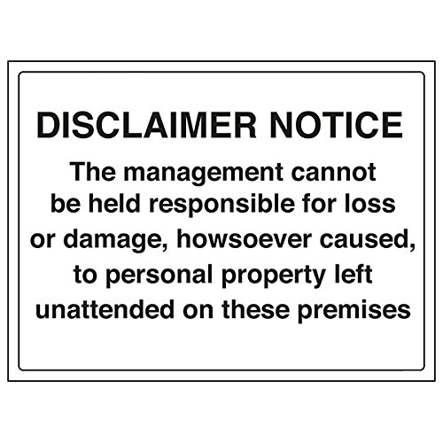 VSafety 72027BF-R'Disclaimer/Management Responsibility' Sign, 400 mm x 300 mm (Pack of 3) from V Safety
