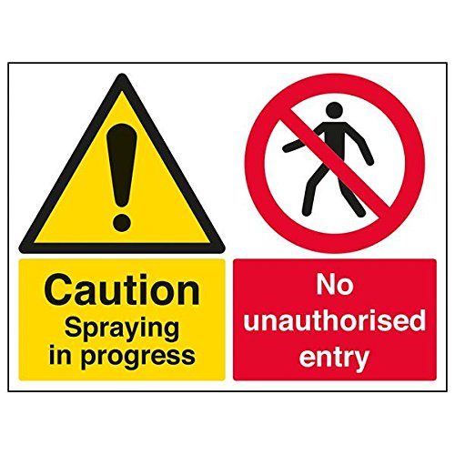 "VSafety 78018BF-S""Caution Spraying In Progress"" Sign, Landscape, 400 mm x 300 mm (Pack of 3) from V Safety"