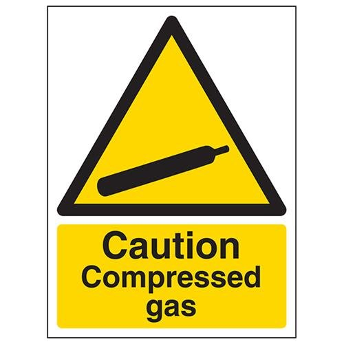 VSafety Caution Compressed Gas Warning Sign - Portrait - 150mm x 200mm - 1mm Rigid Plastic from V Safety