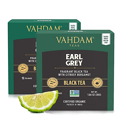 Earl Grey Citrus, 15 Tea Bags (Pack of 2), 100% Natural, Long Leaf Pyramid Earl Grey Tea Bags, Aromatic & Delicious, Black Tea Blended with Natural Oil of Bergamot, Packed at Source, Iced Tea Bags from VAHDAM