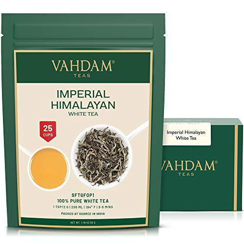 VAHDAM, Imperial White Tea Leaves from Himalayas (25 Cups) - World's Healthiest Tea Type - Powerful Anti-OXIDANTS, High Elevation Grown, White Tea Loose Leaf - Detox Tea & Slimming Tea, 50g from VAHDAM
