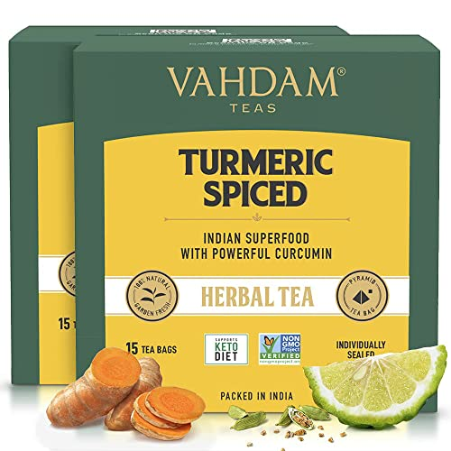 Turmeric Spiced Herbal Tea (30 Tea Bags) | 2018 SOFI Award Winner | INDIA'S Wonder Spice | Turmeric Powder Blended with Fresh Spices | Turmeric Tea for Weight Loss | Natural Turmeric Supplement from VAHDAM