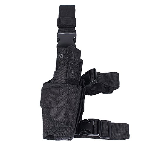 Valink Outdoor Tactical Leg Holster, Military Adjustable Molle Pistol Thigh Holster,Drop Leg Gun Holster Holders,Pistol Handgun Holster Harness Magazine Pouch for Hunting Shooting Gun Shotgun Bags from Valink