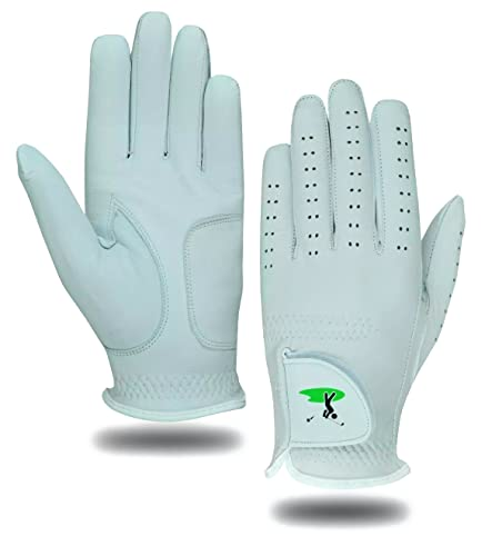 5 White Men's All Weather Golf Gloves Cabretta Leather Thumb & Palm Patch (Medium L/H) from Value Golf Gloves