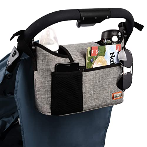 Buggy Pram Bag Organiser, 11L Large Capacity for Baby Accessories with 2 Deep Cup Holders & Shoulder Strap Used as Carry-On Handbag-Universal Fit All Buggy Models (Grey) from Vanleestar