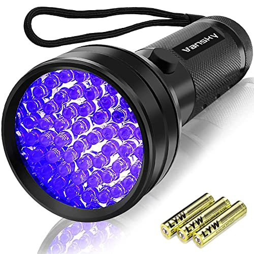 UV Torch, Vansky UV Flashlight Black Light for Pet Urine Detection,51 LED Ultraviolet Blacklight Detector for Dog Urine,Pet Stains,Bed Bug on Carpet/Rugs/Floor【3 x AA Batteries Included】 from Vansky