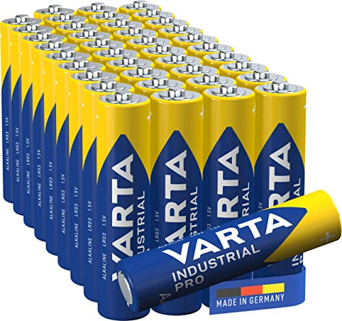 VARTA Industrial Pro Battery AAA Micro Alkaline Batteries LR03, Environmentally Friendly Packaging (Pack of 40), Design may Vary from Varta