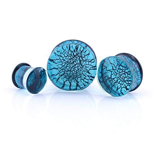 Vault 101 Limited Dichroic Glass Ear Plug - Aqua - 18mm from Vault 101 Limited