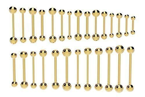 Vault 101 Limited Gold Barbell - 1.2mm (16g) x 10mm with 3mm Balls from Vault 101 Limited