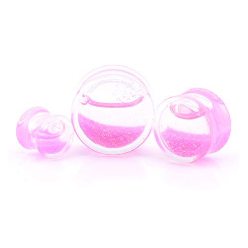 Vault 101 Limited Liquid Glitter Snow Globe Blood Flesh Tunnel Ear Plug Stretcher Expander - Pink Glitter (14 MM) from Vault 101 Limited