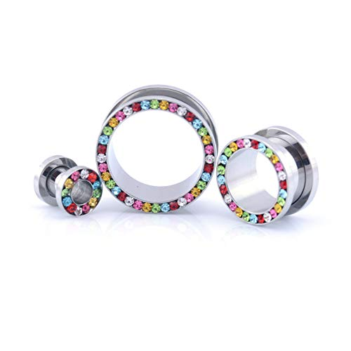 Vault 101 Limited Surgical Steel Multi Crystal Rimmed Screw Fit Ear Stretcher Flesh Tunnel/Plug 3mm - 20mm - Multi Coloured GEMS (16 MM) from Vault 101 Limited