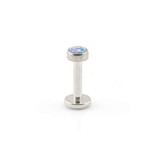 Vault 101 Limited Surgical Steel Opal LABRET - (1.6mm (14g) x 10mm Purple) from Vault 101 Limited