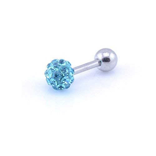 Vault 101 Limited AQUA Shamballa Tragus Bar - 1.2mm (16g) x 6mm Bar - 3mm Balls from Vault 101 Limited