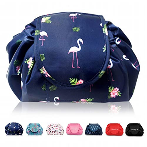 Lazy Drawstring Make up Bag Portable Large Travel Cosmetic Bag Pouch Travel Makeup Pouch Storage Organiser for Women Girl (Navy Flamingo) from Vavabox