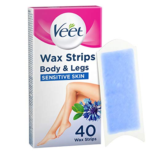 Veet Wax Strips for Sensitive Skin for Body and Legs, 20 Double Sided Strips, Pack of 40 from Veet
