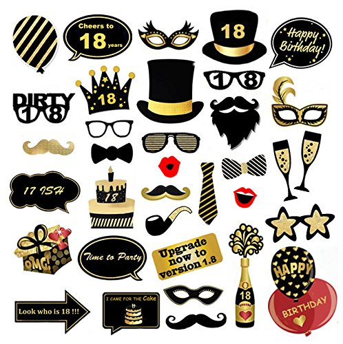 abc6057cff01 Veewon 18th Birthday Party Photo Booth Props Funny Birthday Celebration  Decoration Supplies - 35 Count from