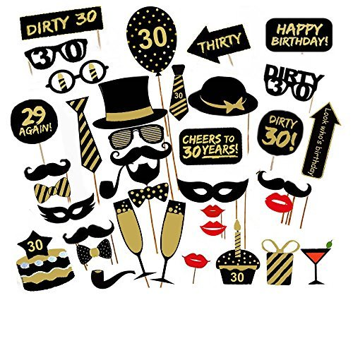 7bcee41b914c Veewon 30th Birthday Party Photo Booth Props Unisex Funny 36pcs DIY Kit  Suitable for His or