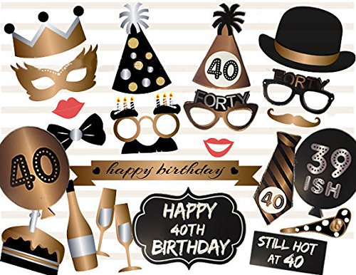 cf05b47b42c8 Veewon 40th Birthday Photo Booth Props Party Favor Kit - 23 Count from  Veewon