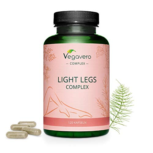 Vegavero Light Legs Complex | Natural Support with Vine Leaf, Butcher's Broom Root, Bilberry Fruit, Gotu Kola & Horsetail Extract | 120 Capsules | 100% Vegan from Vegavero