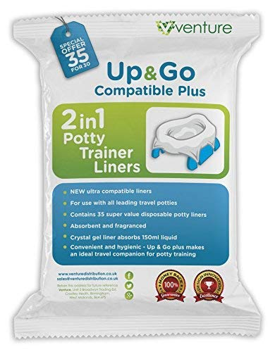 35 Pack 2-in-1 portable potty Liners, Suitable For Use With Leading Travel Potties and Pote Plus, Get 35 Up & Go Travel Liner from Venture