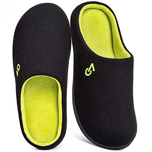 VeraCosy Men's Two-Tone Memory Foam Slippers Black/Lime from VeraCosy