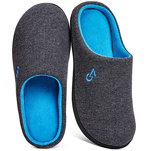 Men's Two-Tone Memory Foam Slipper - Dark Gray/Blue Large - UK 10-11 from VeraCosy