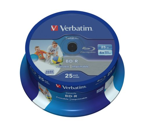 Verbatim 43811 25GB 6x BD-R SL Datalife Inkjet Printable - 25 Pack Spindle from Verbatim