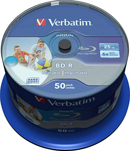 Verbatim 43812 25GB 6x BD-R SL Datalife Inkjet Printable - 50 Pack Spindle from Verbatim