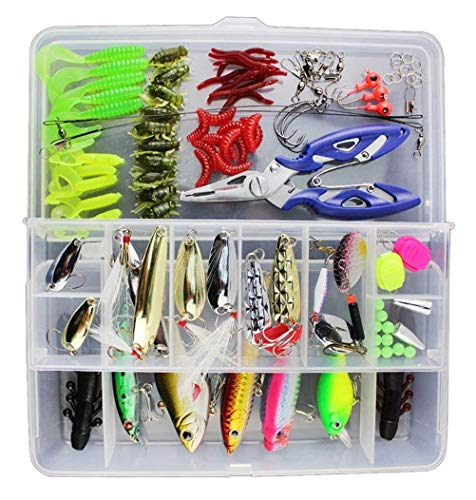 Vicloon 120 PCS Fishing Lures Mixed Including Spinners,VIB,Treble Hooks,Single Hooks,Swivels,Pliers,Leaders from Vicloon
