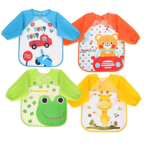 Vicloon Bibs with Sleeves,4 Pcs Waterproof Long Sleeve Bib Unisex Feeding Bibs Apron for Infant Toddler 6 Months to 3 Years Old from Vicloon