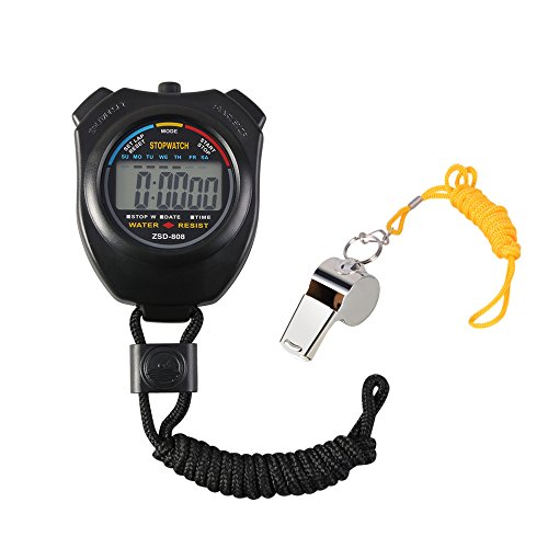 Vicloon Digital Sport Stopwatch Timer with Stainless Steel Whistle,Large LCD Display Suitable for Football,Basketball, Running,Swimming,Fitness and More from Vi