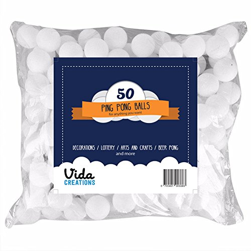 50 ping pong balls for decorations, pets, lottery, beer pong, school activities and more! White table tennis balls from Vida Creations