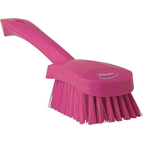 "Vikan 41921 Heavy Duty Sweep Hand Brush, Polypropylene, Polyester Bristle, 10"", Pink from Vikan"