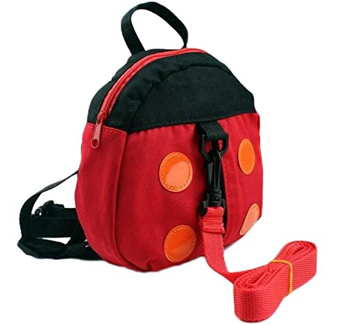Vikenner Toddler Children Anti Lost Backpack with Walking Reins Baby Safety Harness Rucksack Kids School Shoulder Bag with Detachable Strap for Boys Girls - Ladybird Pattern - Red from Vikenner.