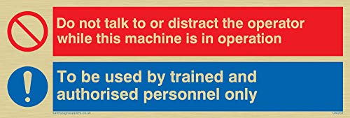 "Viking Signs CM202-L15-G ""Do Not Talk Or Distract Machine Operator, Trained Personnel Only"" Sign, Plastic, Semi-Rigid Gold, 150 mm H x 50 mm W from Viking Signs"