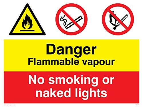 "Viking Signs CN615-A3L-3D""Danger Flammable Vapour, No Smoking or Naked Lights"" Sign, 3 mm Plastic Rigid Double-Sided, 400 mm H x 300 mm W from Viking Signs"