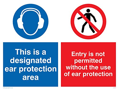 "Viking Signs CP276-A1L-3M ""This Is A Designated Ear Protection Area, Entry Is Not Permitted Without The Use Of Ear Protection"" Sign, 3 mm Plastic Rigid, 800 mm H x 600 mm W from Viking Signs"
