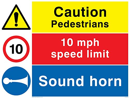 "Viking Signs CV5418-A3L-1M""Caution Pedestrians, 10 mph Speed Limit, Sound Horn"" Sign, 1 mm Plastic Semi-Rigid, 400 mm H x 300 mm W from Viking Signs"