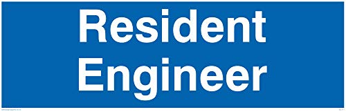 "Viking Signs DC711-L31-1M ""Resident Engineer"" Door Sign, 1 mm Plastic Semi-Rigid, 300 mm H x 100 mm W from Viking Signs"