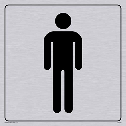 Viking Signs DV1026-S15-S Male Toilet Symbol - Toilet Door Sign, Positive Black Text with Border, Plastic Semi-Rigid Silver, 150 mm H x 150 mm W from Viking Signs
