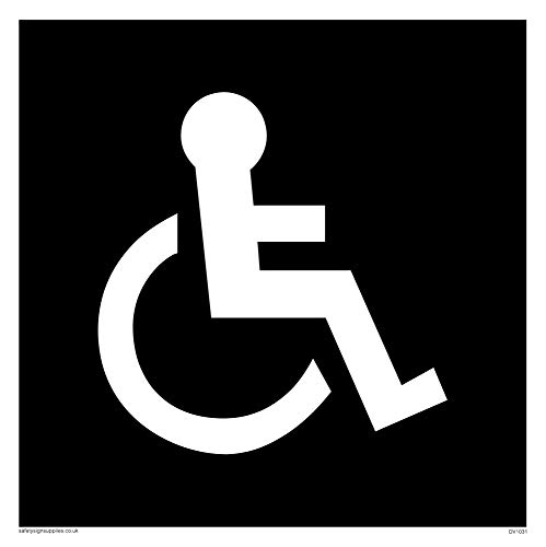 Viking Signs DV1031-S15-V Disabled Toilet Symbol - Toilet Door Sign, Negative Black Text, Vinyl/Sticker, 150 mm H x 150 mm W from Viking Signs