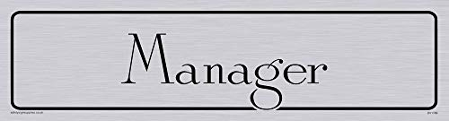 "Viking Signs DV1169-L26-S ""Manager"" Door Sign, Antique Roman Font, Plastic Semi-Rigid Silver, 225 mm H x 60 mm W from Viking Signs"