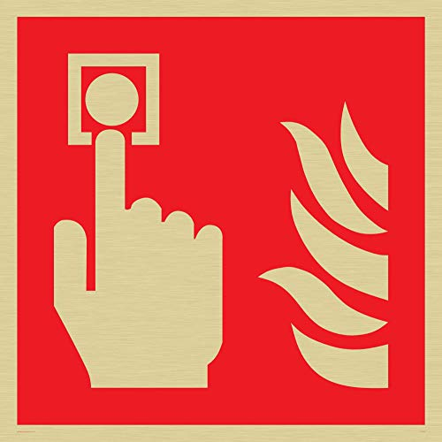 Viking Signs FV343-S40-G Fire Alarm Call Point Symbol Only Sign, Plastic Semi-Rigid Gold, 400 mm H x 400 mm W from Viking Signs