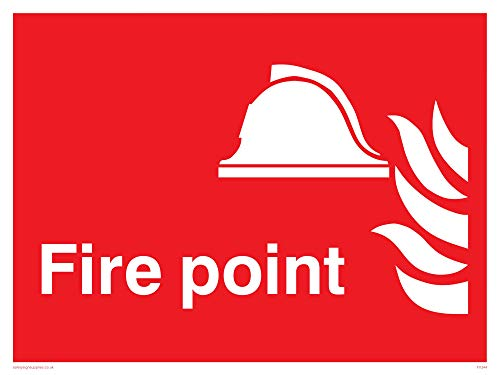 "Viking Signs FV344-A1L-3D ""Fire Point"" Sign, 3 mm Plastic Rigid Double-Sided, 800 mm H x 600 mm W from Viking Signs"